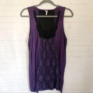 💐5/$25!💐 Studio Y purple lace beaded tank L